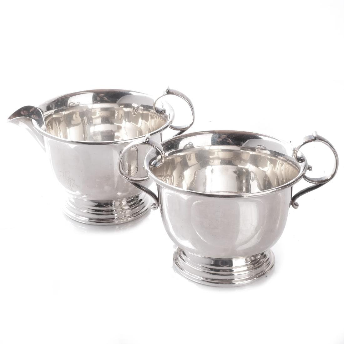 Sterling Silver Creamers and Sugar Bowl - 4