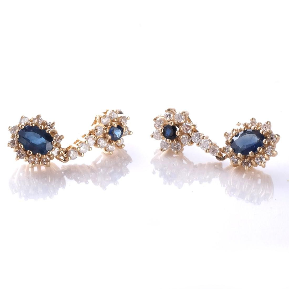 14k Sapphire and Diamond Earrings
