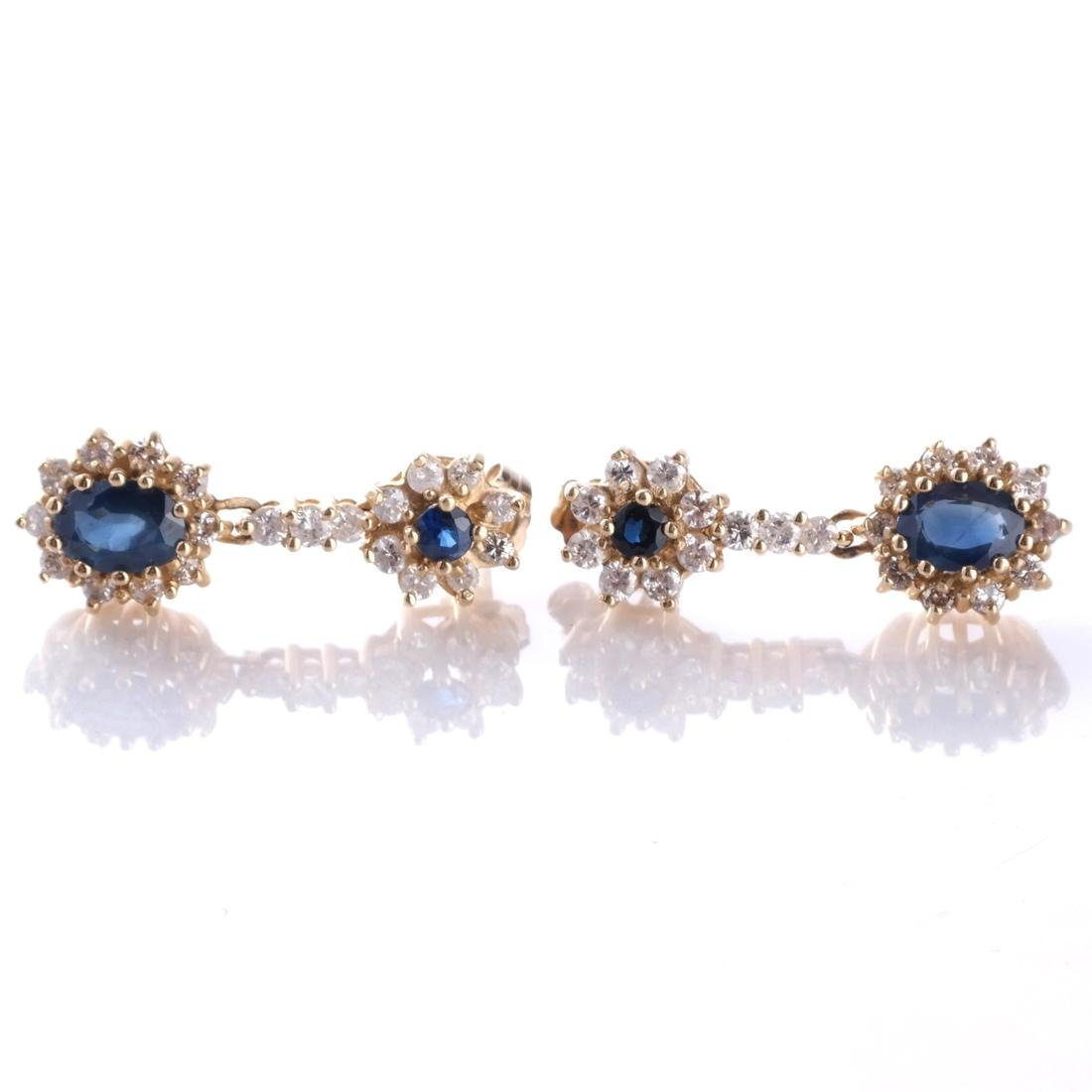 14k Sapphire and Diamond Earrings - 2