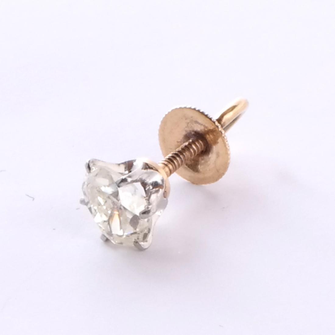 14k Pear Shaped Diamond Stud - 2