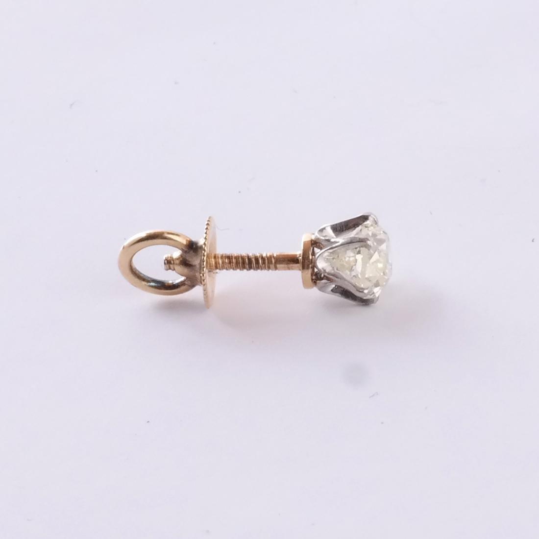 14k Pear Shaped Diamond Stud - 3