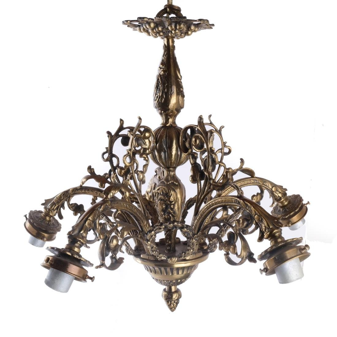 French Four-Light Bronze Chandelier