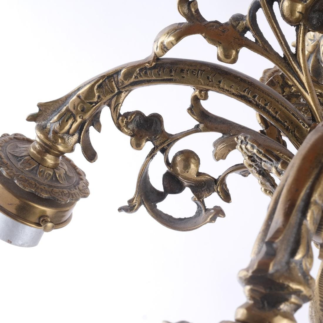 French Four-Light Bronze Chandelier - 3