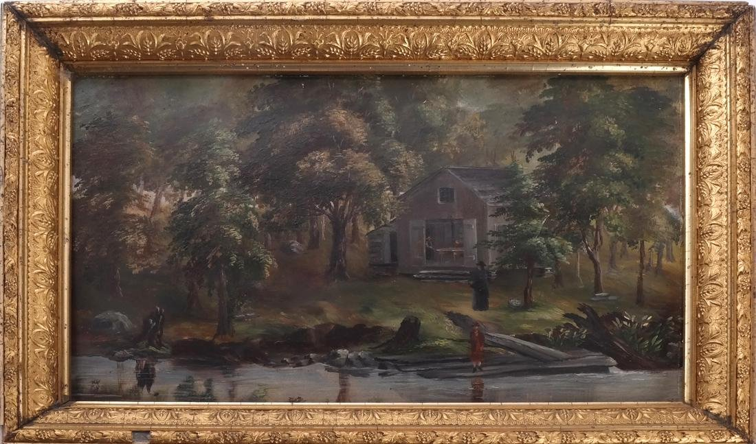 Figural Lake/Landscape, Oil on Carton