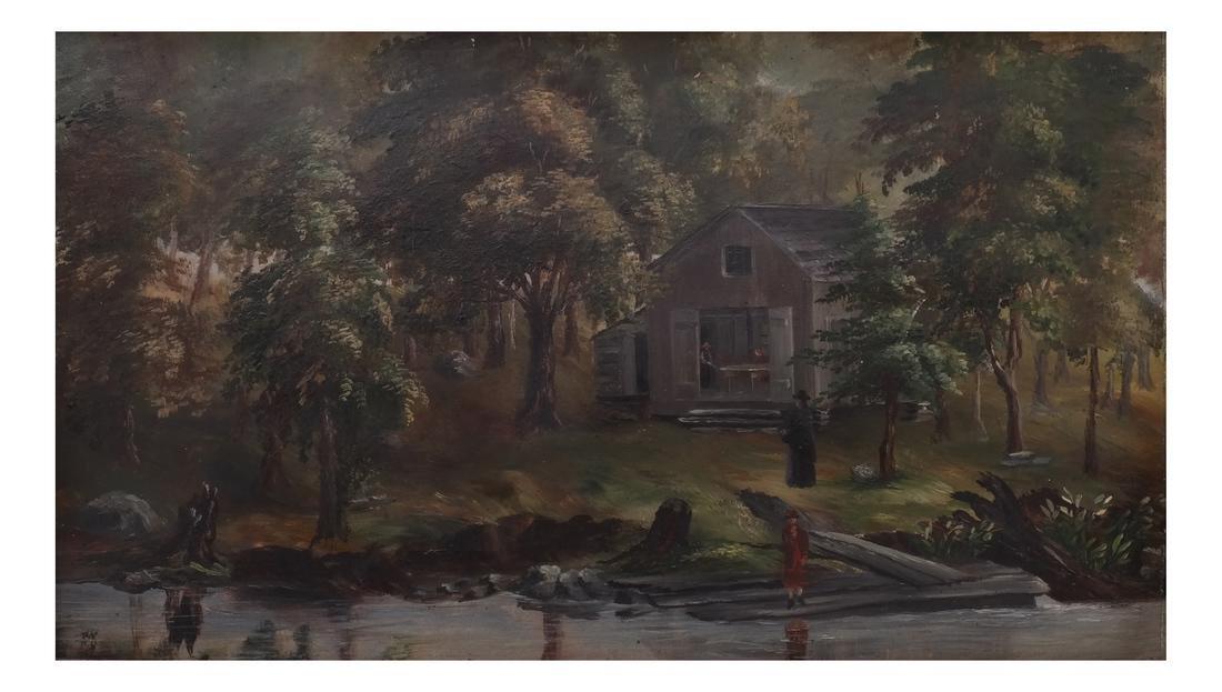 Figural Lake/Landscape, Oil on Carton - 2
