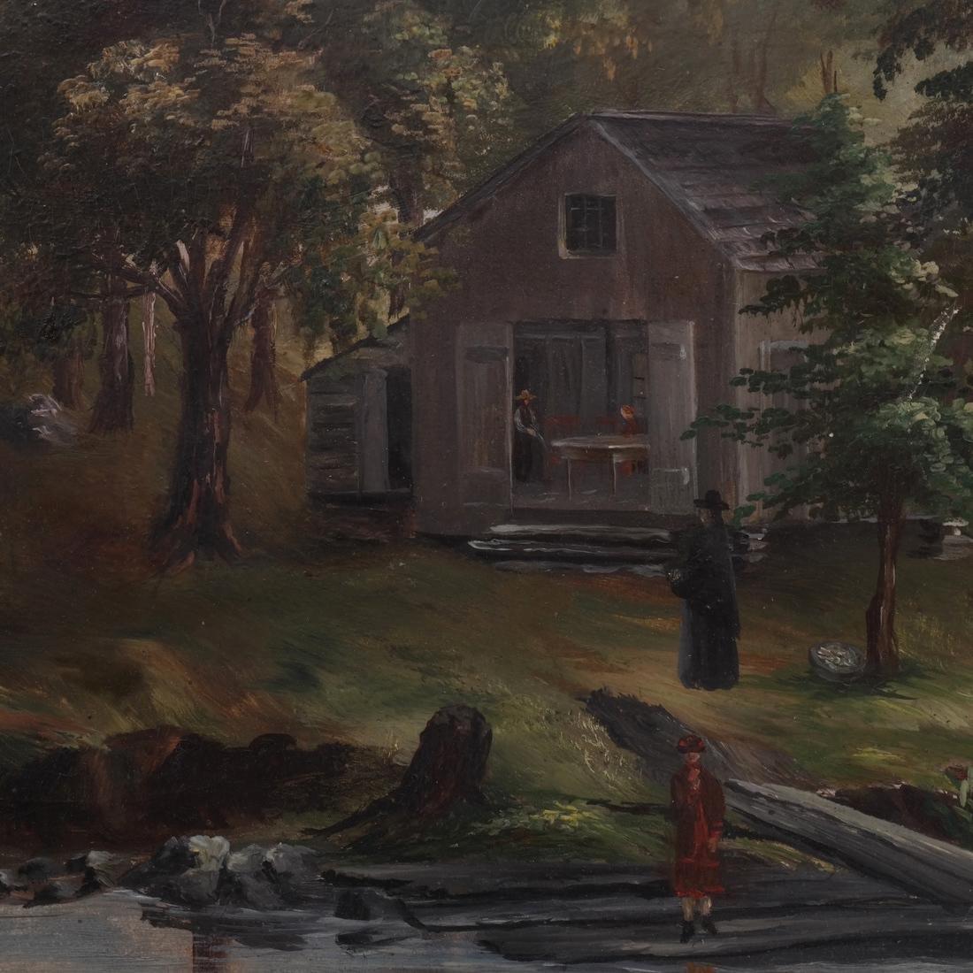 Figural Lake/Landscape, Oil on Carton - 5