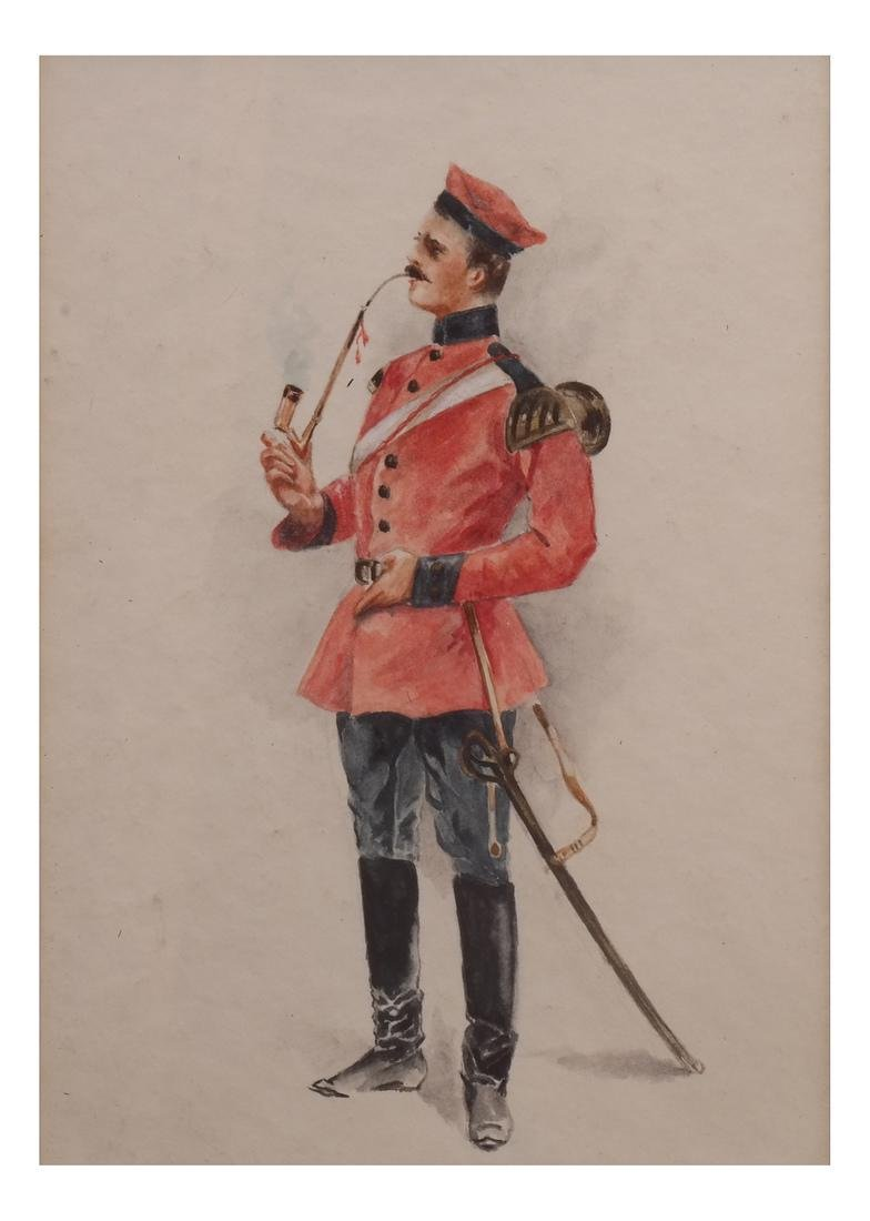 Watercolor of Soldier Smoking A Pipe