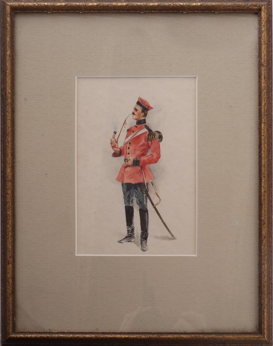 Watercolor of Soldier Smoking A Pipe - 2