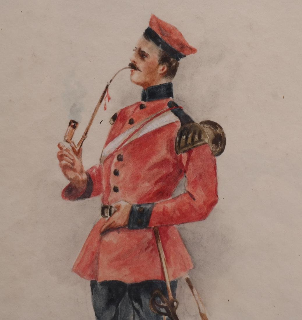 Watercolor of Soldier Smoking A Pipe - 3