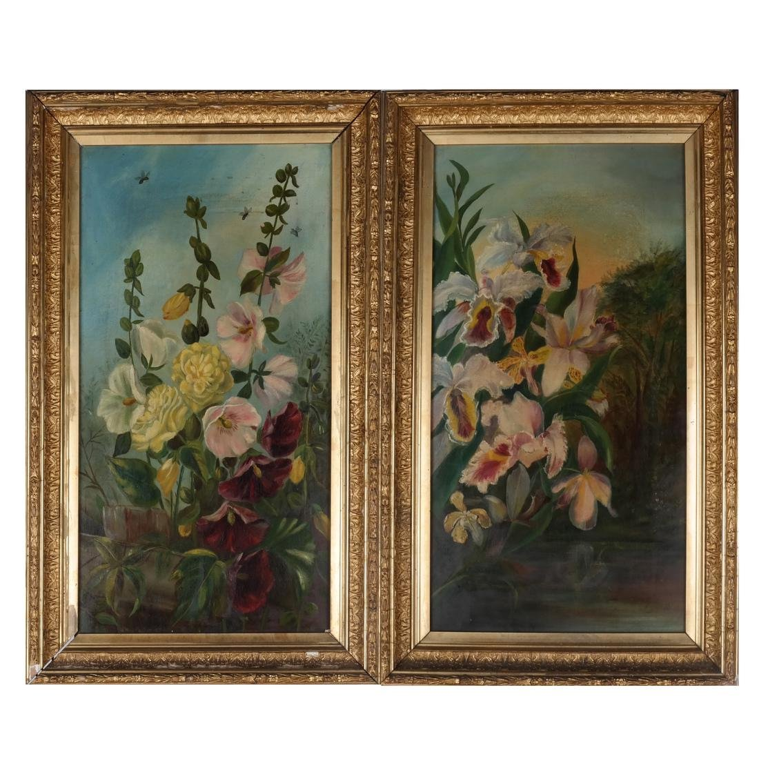 Pair of Floral Still Lifes, Oils on Canvas