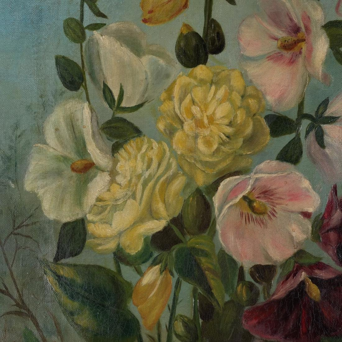Pair of Floral Still Lifes, Oils on Canvas - 3