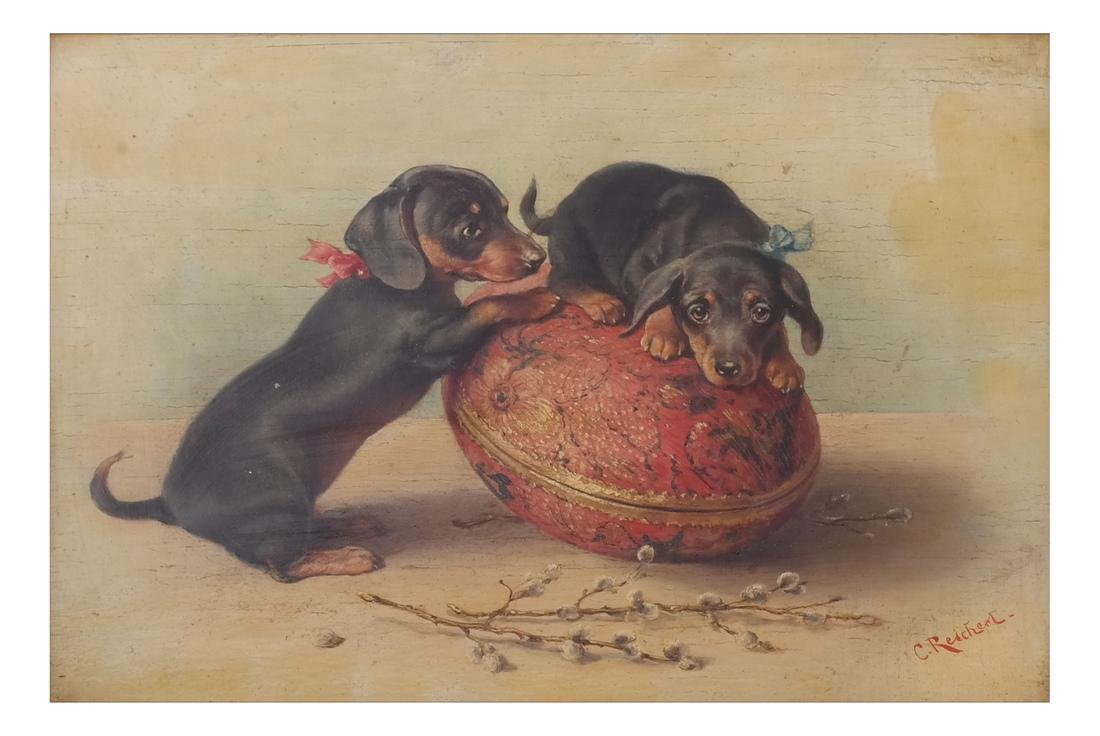 Carl Reichert: Dogs at Play, - Oil on Panel - 2