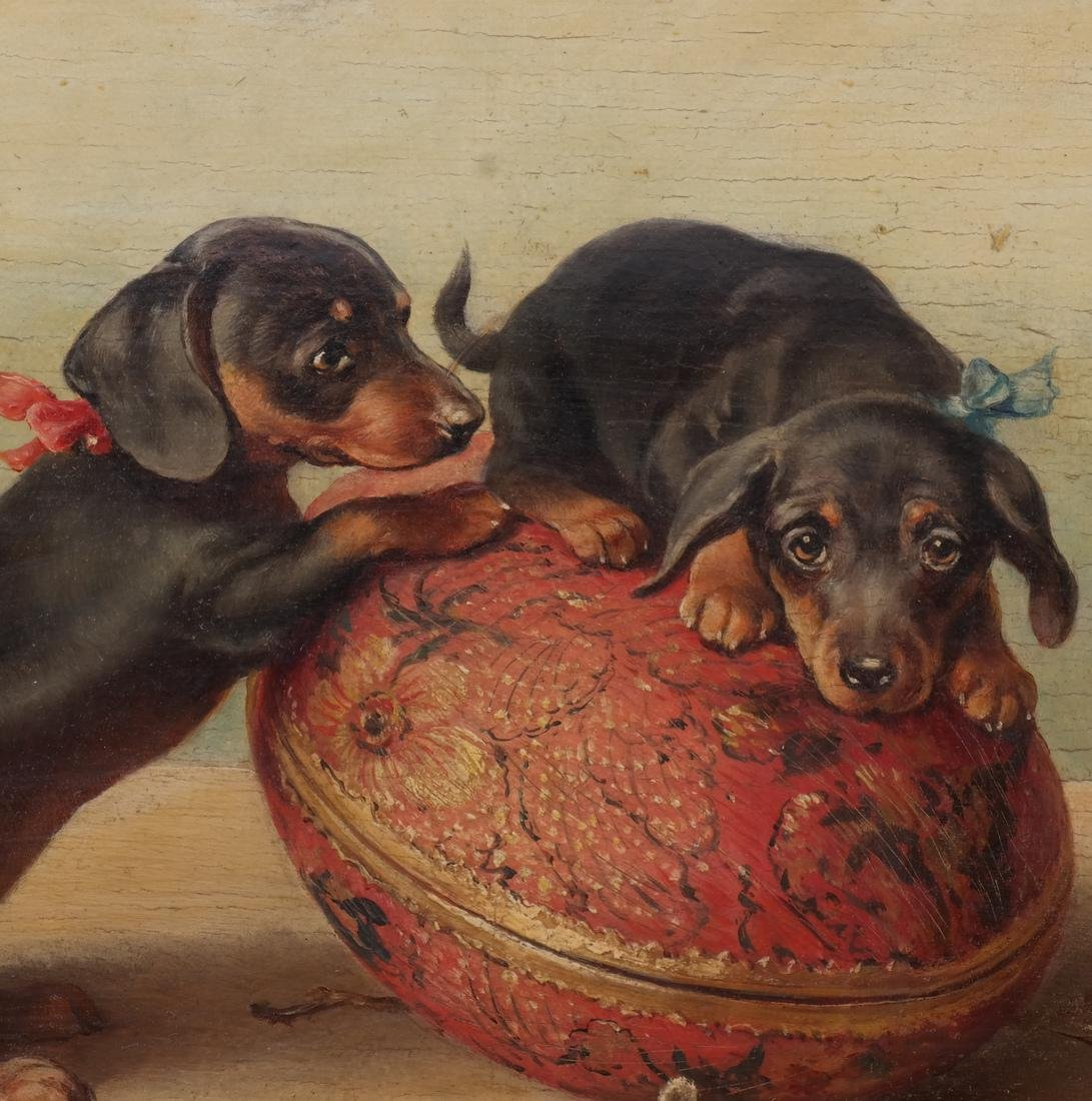 Carl Reichert: Dogs at Play, - Oil on Panel - 4