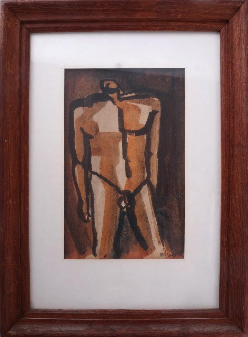 Nora Frenkel: Nude Man and Woman, Watercolor - 2