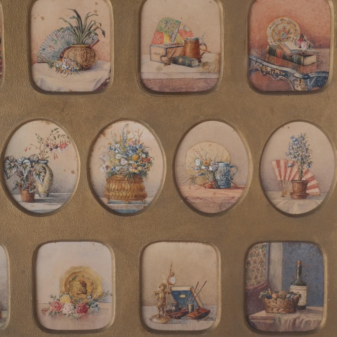 Miniature Still Life Paintings, Antique - 2