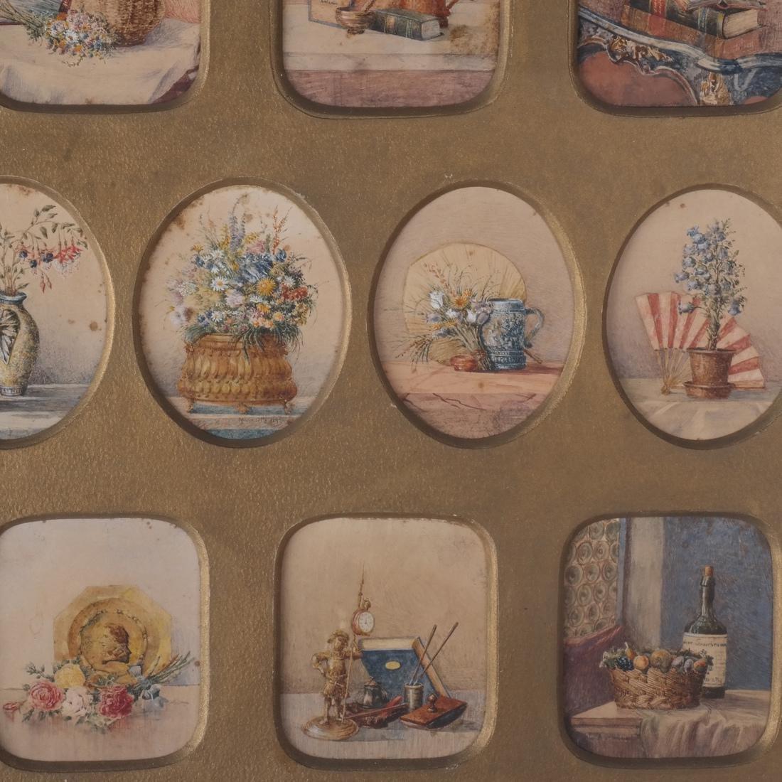 Miniature Still Life Paintings, Antique - 5
