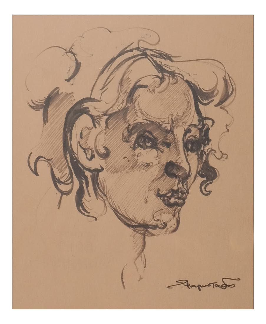 "Ted Anagnostaras ""Woman's Head"" Ink"