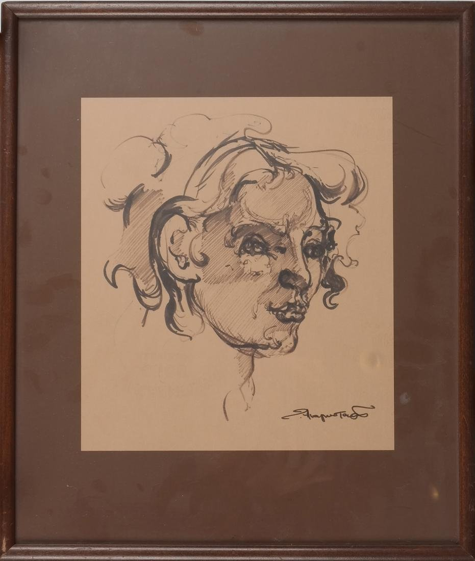 "Ted Anagnostaras ""Woman's Head"" Ink - 2"