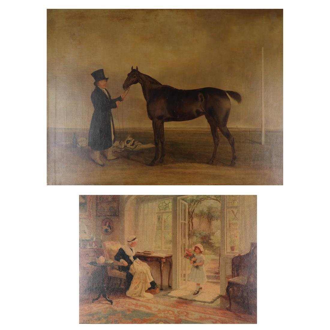After Edwin Cooper: Horse Scene and a Print