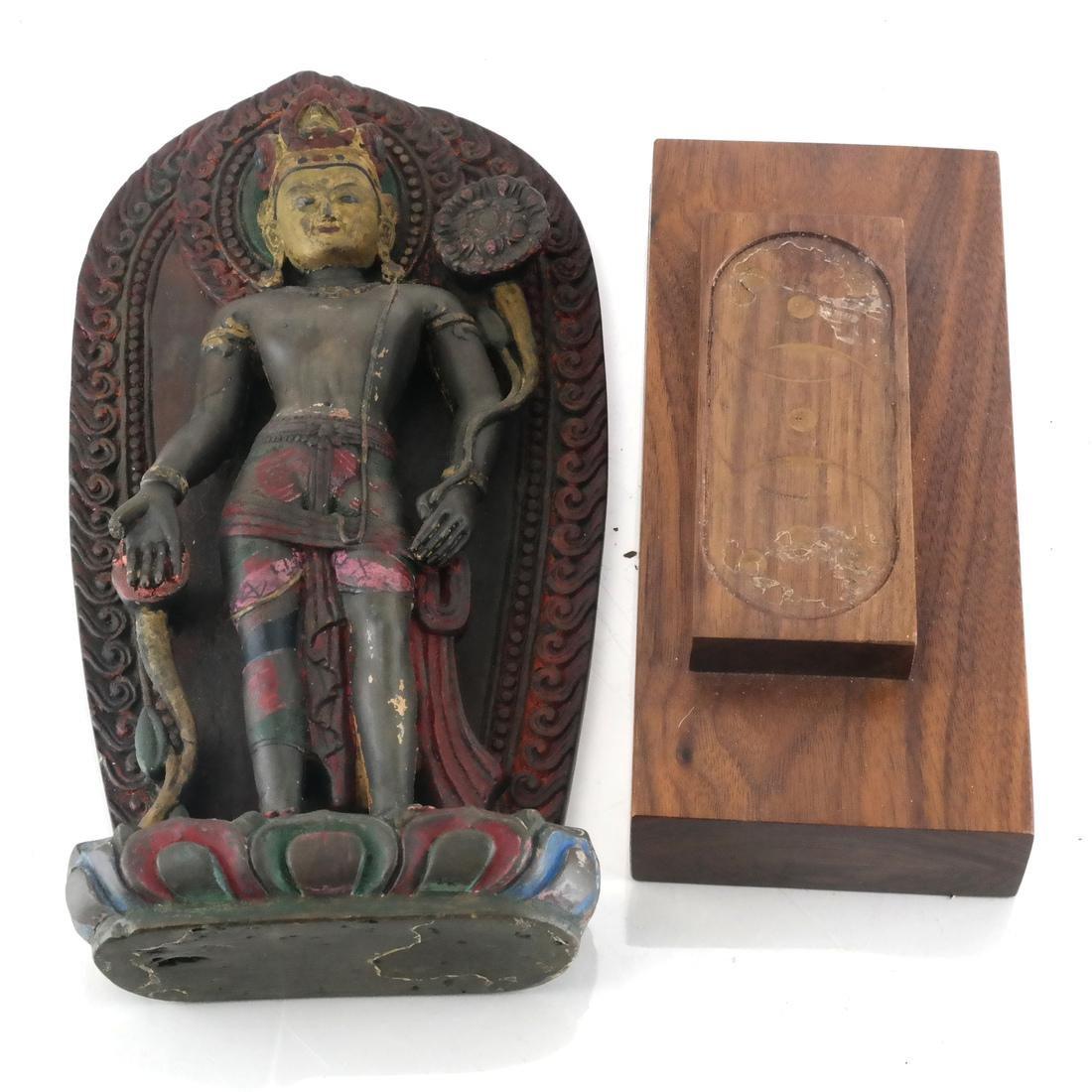 Nepalese Stone Buddha & Stand - 5