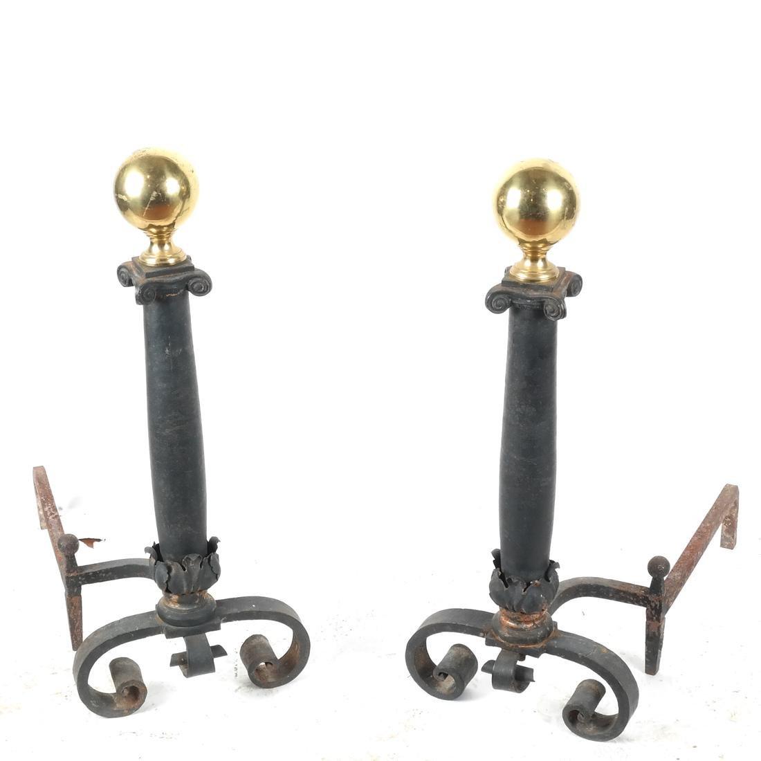 Pair Antique Iron, Bronze Andirons