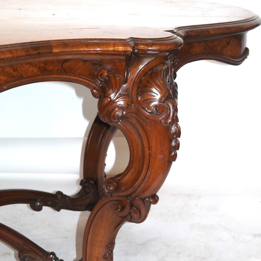 Antique Burl Walnut Carved Table - 3