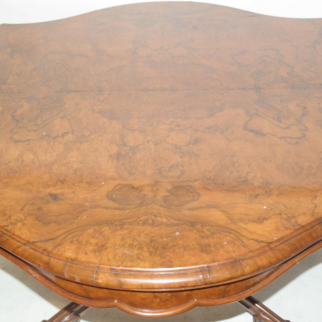 Antique Burl Walnut Carved Table - 4