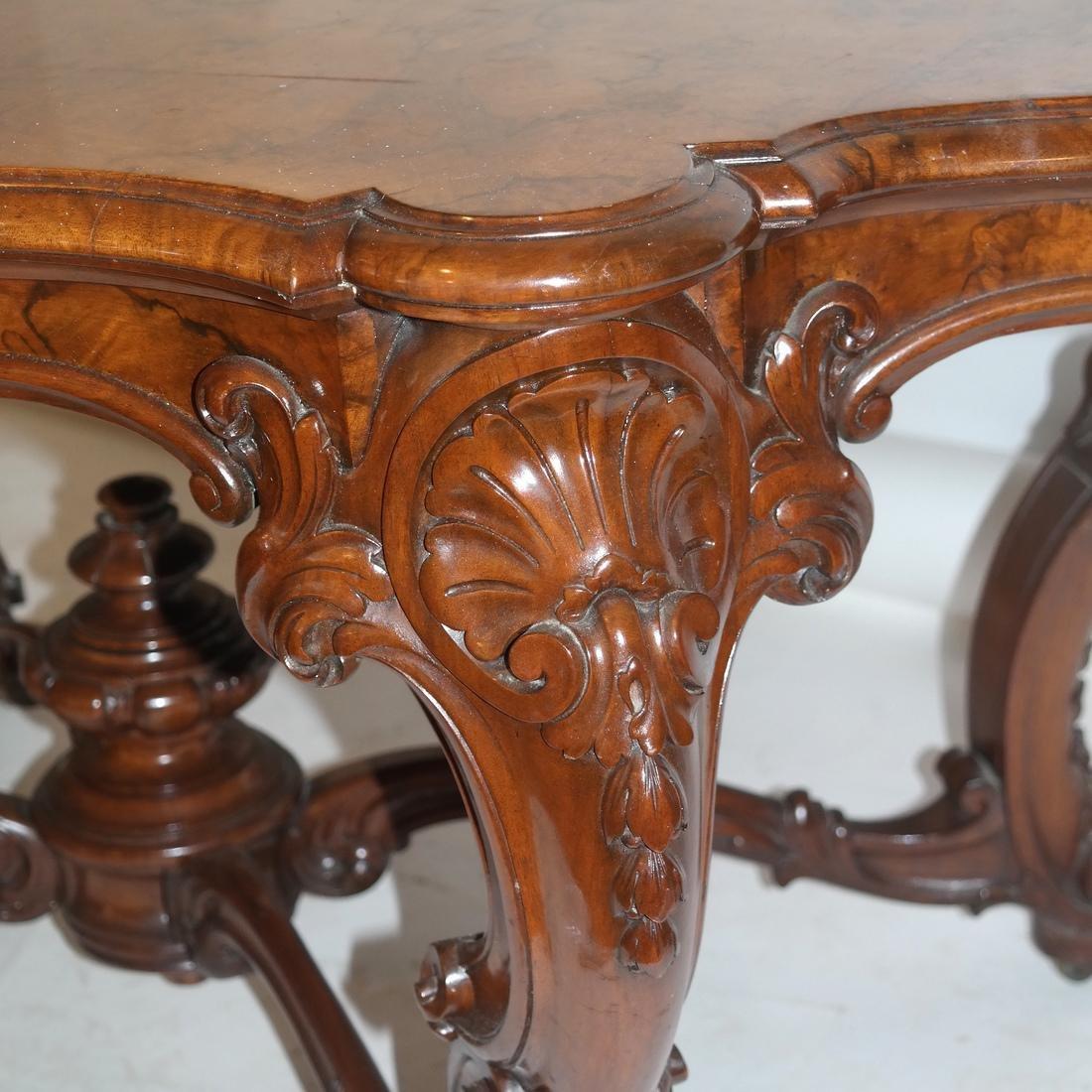 Antique Burl Walnut Carved Table - 5