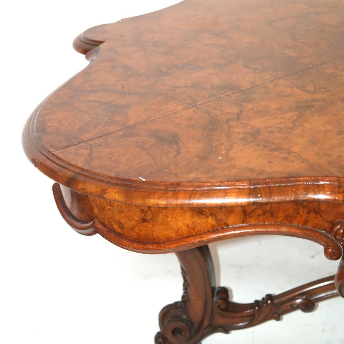 Antique Burl Walnut Carved Table - 6