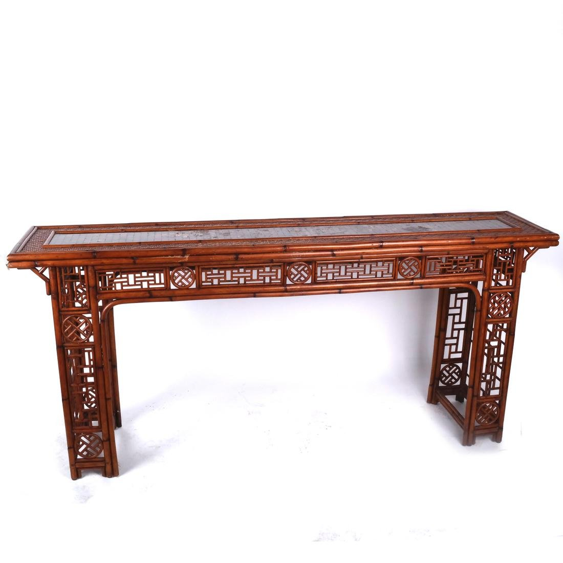 Chinese Rattan and Olivewood-Style Console