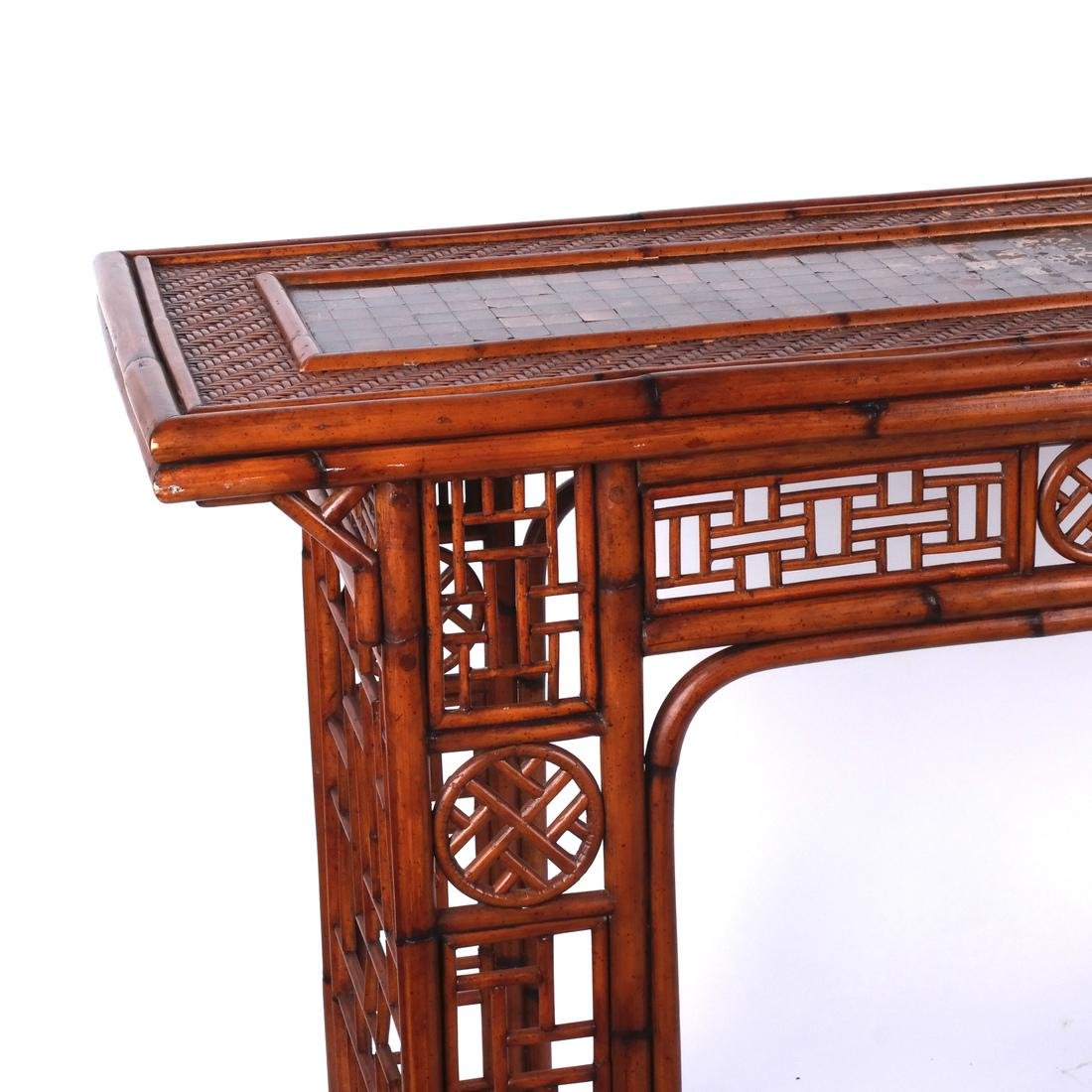 Chinese Rattan and Olivewood-Style Console - 2