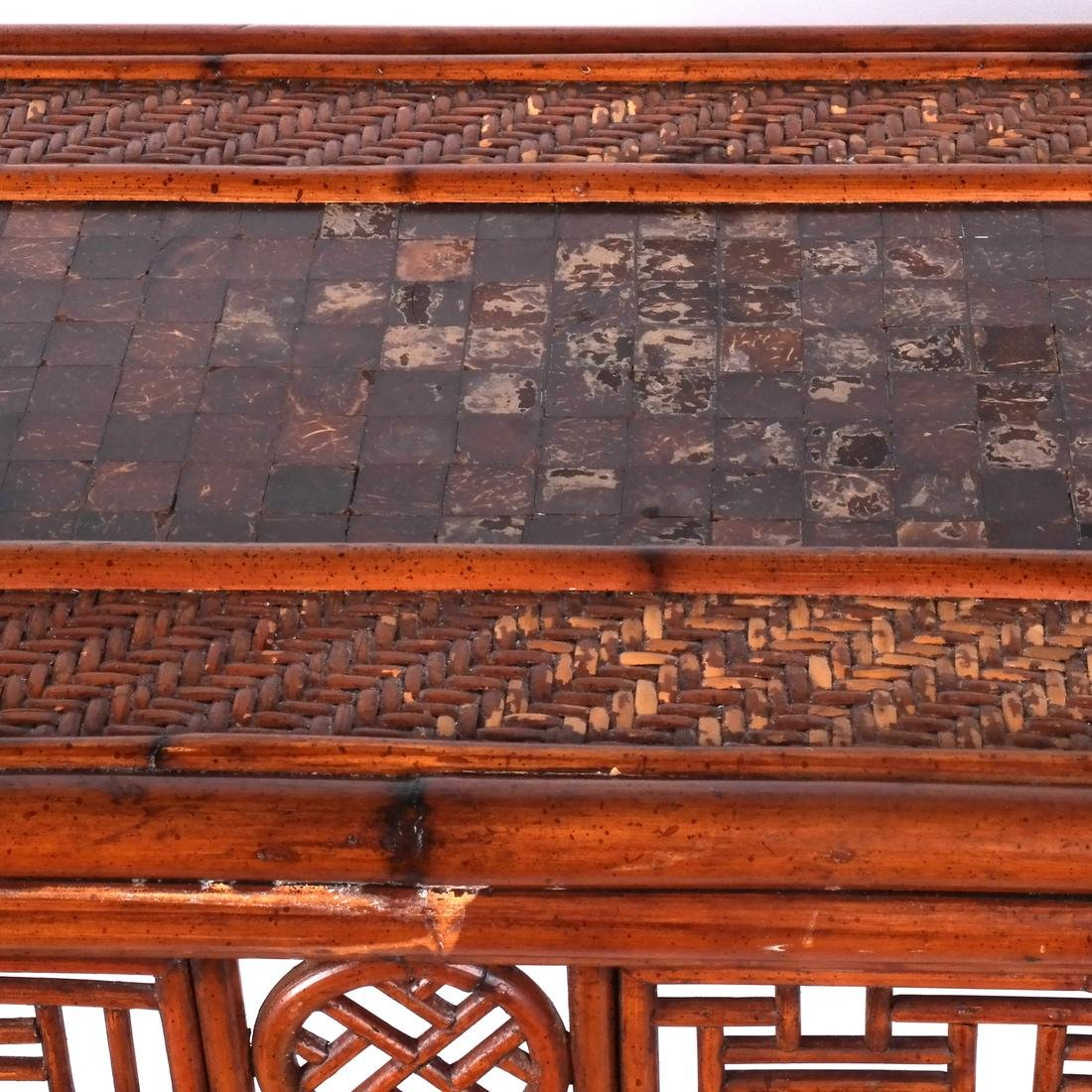 Chinese Rattan and Olivewood-Style Console - 3