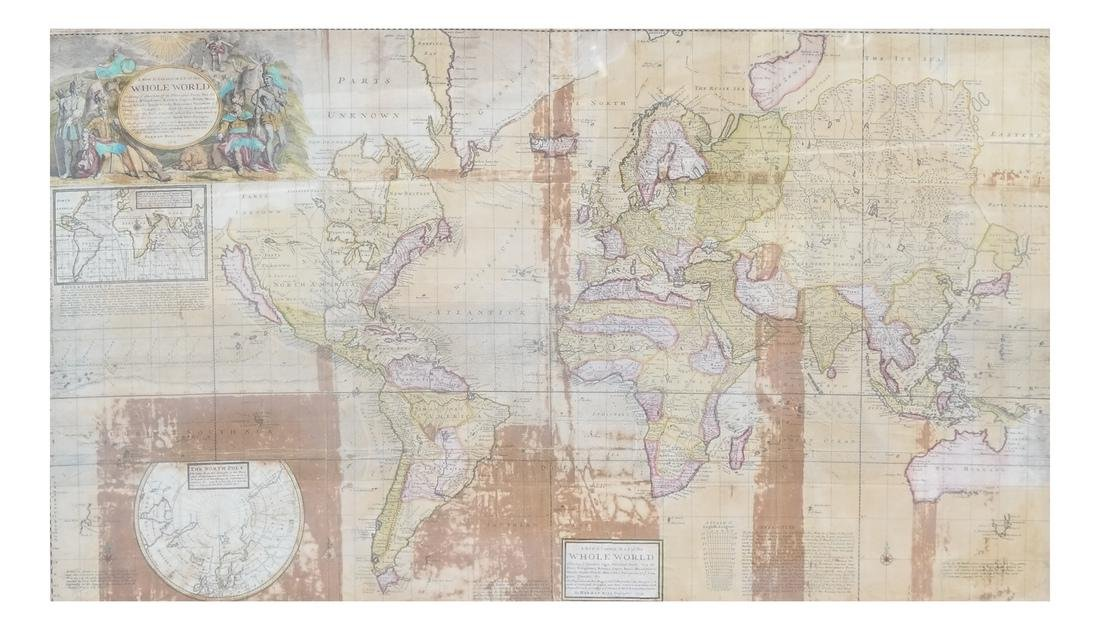 Framed Map of the World, Dated 1719