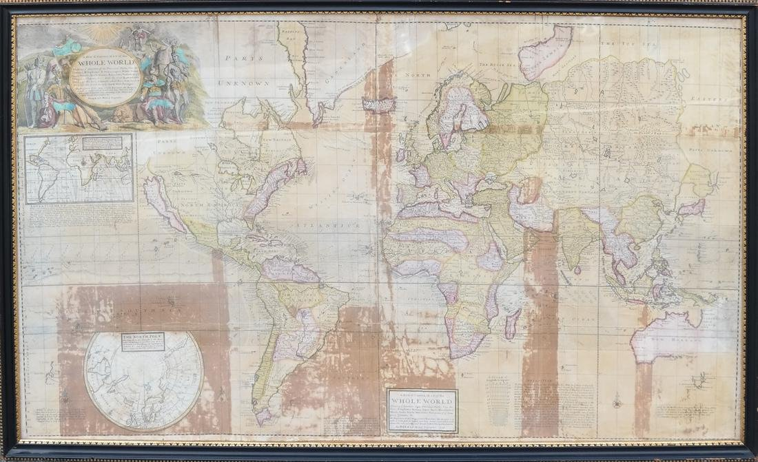 Framed Map of the World, Dated 1719 - 2