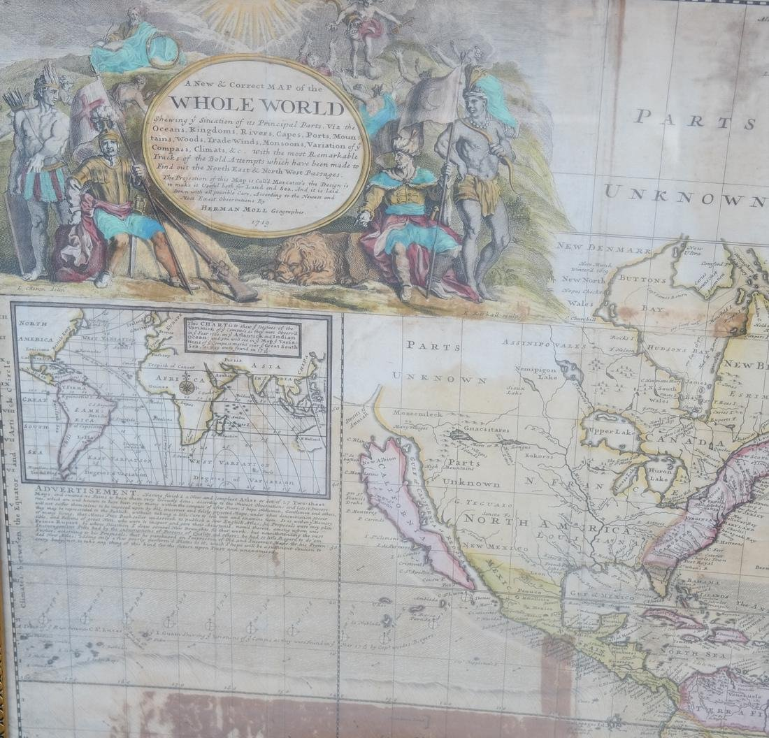 Framed Map of the World, Dated 1719 - 3