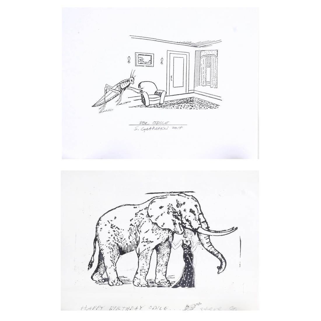 Steve Gianakos Two Inscribed Prints