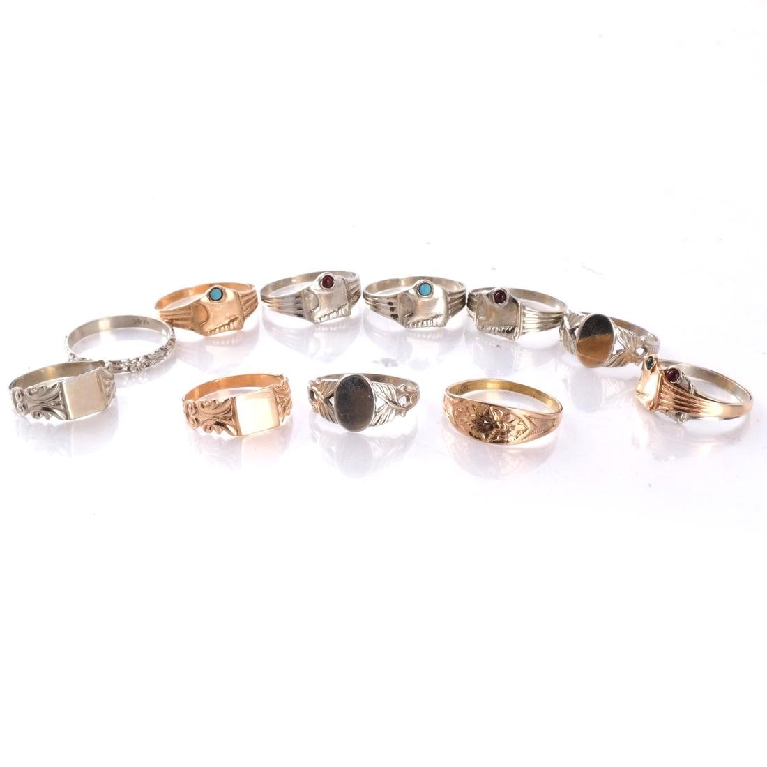 14k Baby's Rings in White and Yellow Gold