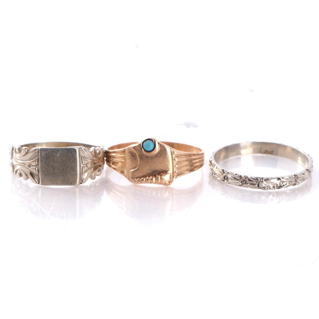 14k Baby's Rings in White and Yellow Gold - 4