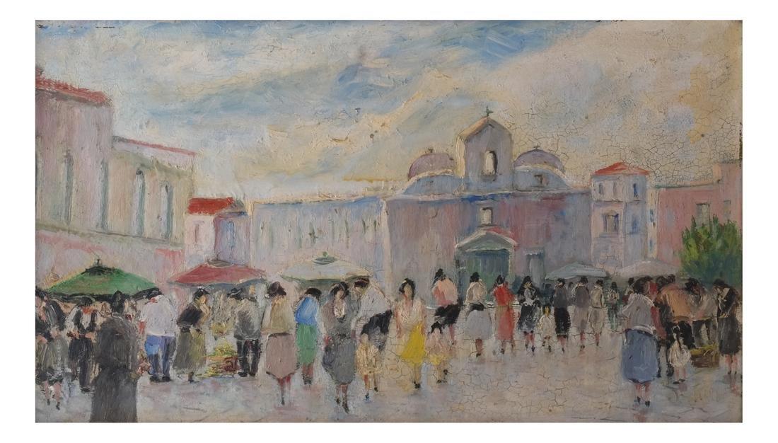 S.Natullo: Street Scene, Oil on Panel