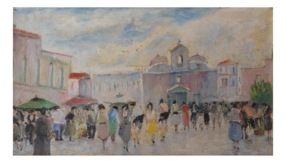 S.Natullo: Street Scene, Oil on Panel