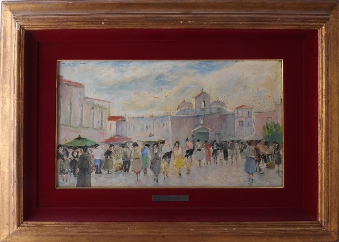 S.Natullo: Street Scene, Oil on Panel - 2