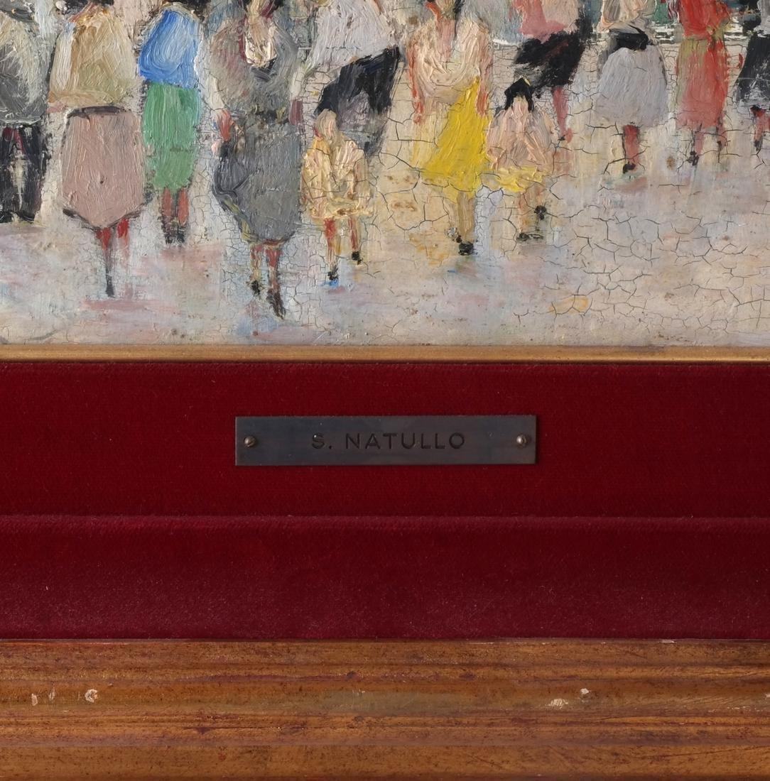 S.Natullo: Street Scene, Oil on Panel - 3