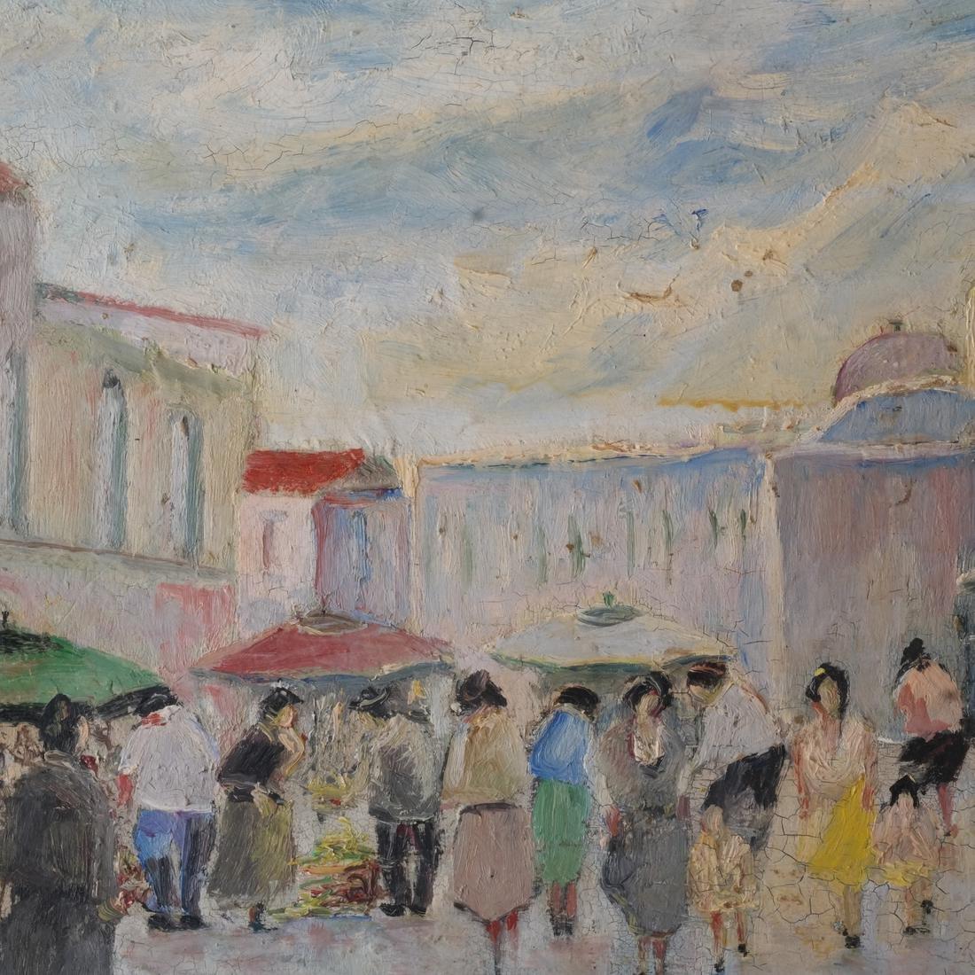 S.Natullo: Street Scene, Oil on Panel - 4