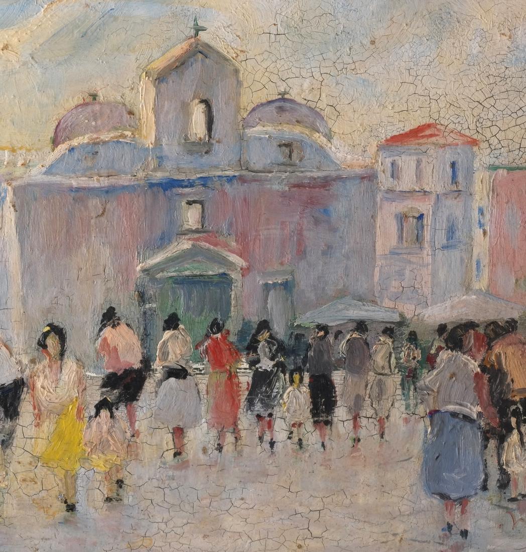 S.Natullo: Street Scene, Oil on Panel - 5