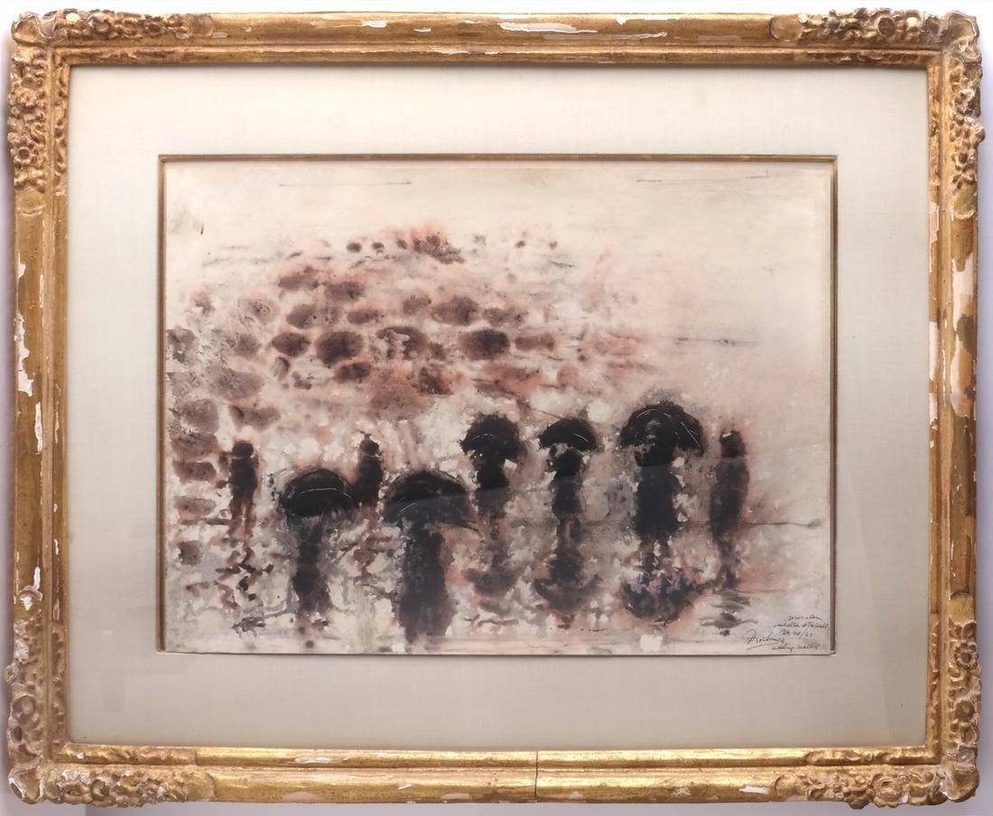 Noel Rockmore: Wailing Wall, Watercolor