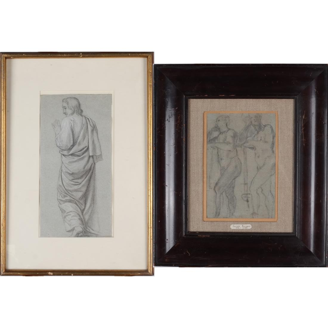 Two Works: Male Subjects, Charcoal on Paper