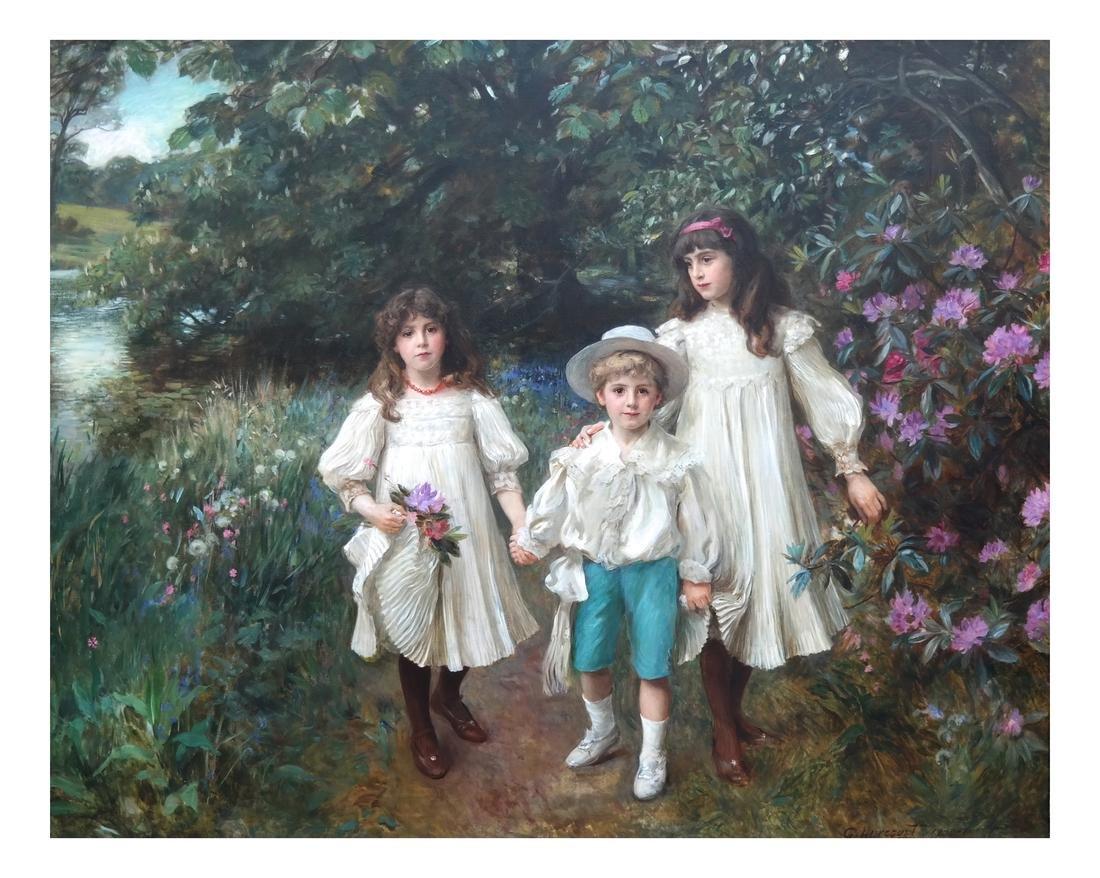 George Harcourt: Muriel, Cynthia and George - O/C - 2
