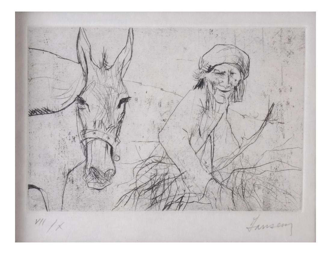 Jansen: Figure and Donkey, Litho