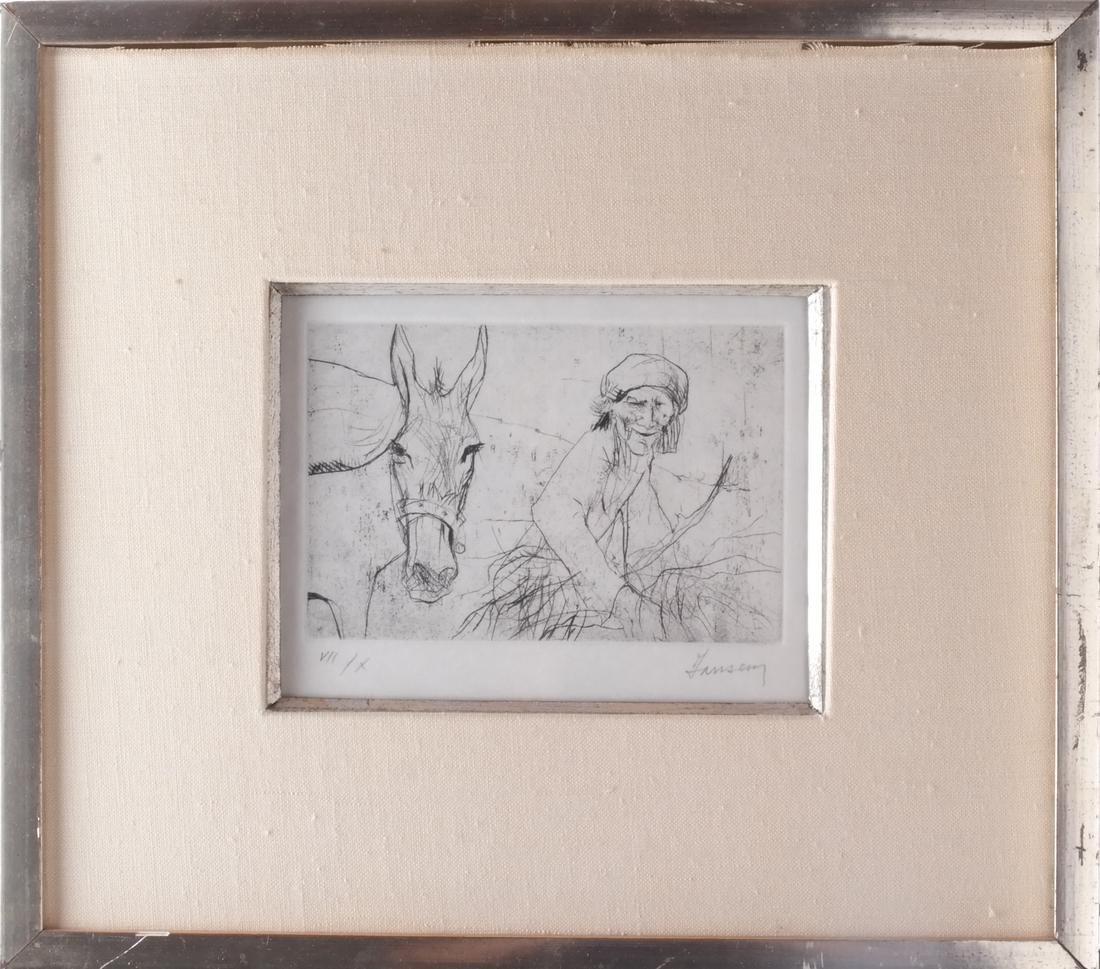Jansen: Figure and Donkey, Litho - 2