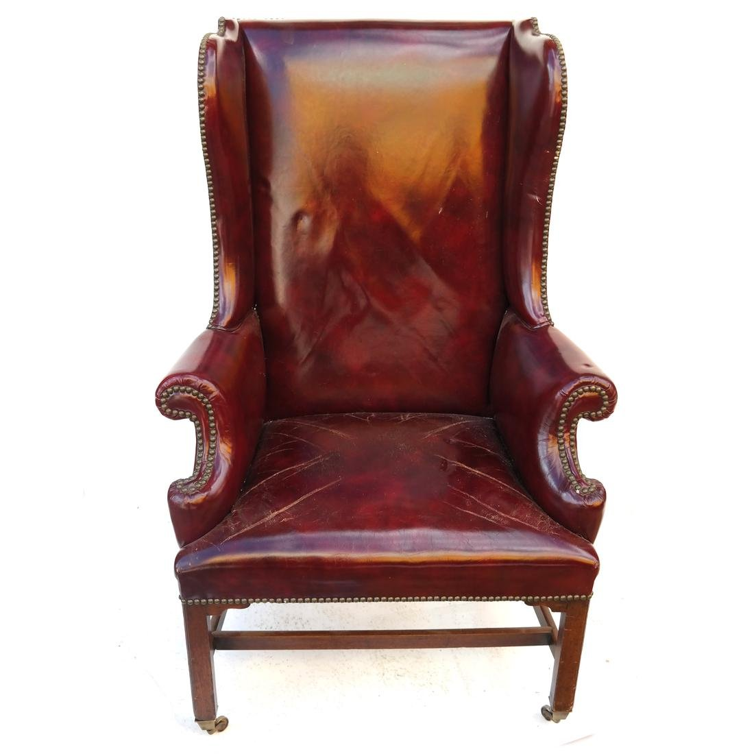 Antique english Red Leather Wing Chair